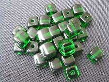 5 Glasperlen weiss klar 15x10mm Shamballa Makramee B936