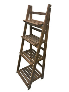 4 Tier Ladder Shelf Display Unit Folding Book Stand Shelves Free Standing Brown
