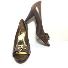 ANNE KLEIN Women's Brown Leather Horse Bit Peep Toe Chunky Heel Pumps Size 8.5 M