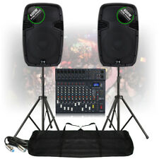 PA Speaker Sound System Large 12-Ch Bluetooth DJ Mixer 1200W Active + Stands
