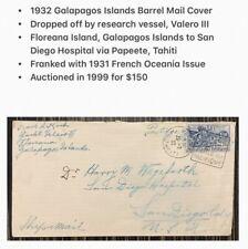 Galapagos Islands Cover Barrel Mail Post Office Bay Valero III 1932 via Tahiti