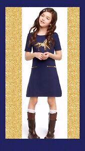 "NWT Girls 6 Gymboree ""Plum Pony"" Navy-Blue Gold Sequin Back Zip HORSE DRESS"