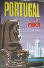 PORTUGAL TWA  original vintage c.1965  airline travel poster