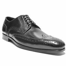 NIB HUGO BOSS Black Dress Men's Leather Formal Oxford 9 42 Wingtip Brogue Casual