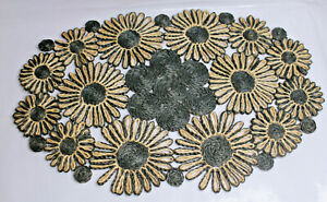 4 Vintage Placemats 100% Abaca Woven Made in Philippines Floral Blk/Tan Lot  #1