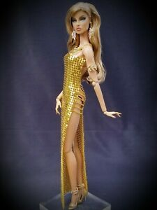 Fashion Royalty NuFace Poppy Integrity Toys Accessories Metal Mesh Dress GOLD