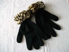 Black Knitted Gloves with Fur Trim around the Cuffs