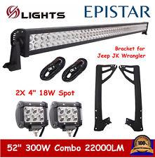 """52"""" 300W 4"""" 18W LED Light Bar+ Bracket for 07-18 Jeep Wrangler JK+ Wiring Kit"""