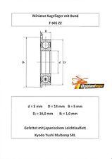 10x Bund Kugellager F 605 ZZ 5x14x5 mm Flange Bearing Flansch Kugellager