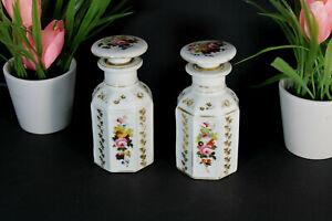 PAIR antique vieux paris porcelain flacons floral