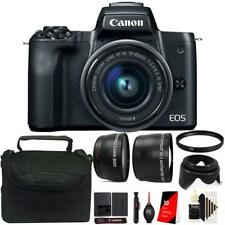 Canon EOS M50 Mirrorless Digital Camera + 15-45mm Lens Black Accessory Kit