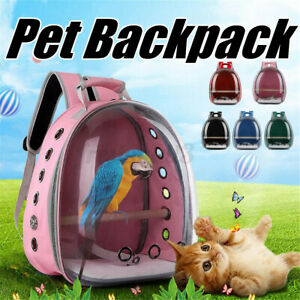 Pet Parrot Carrier Bird Travel Breathable Transparent Space Capsule Backpack ~