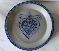 "Vintage 1990 Eldreth Pottery Stoneware Blue Salt Glaze Heart 11"" Pie Plate"