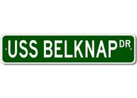 USS BELKNAP APD 34 Ship Navy Sailor Metal Street Sign - Aluminum