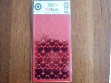 "WORLD GREETINGS - FOIL "" RED HEARTS"" STICKERS - 260 STICKERS"