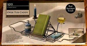 Over Tub Caddy Spa Creations Satin Nickel Finish Adjustable ENJOY RELAX NEW NOB