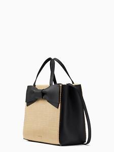 New Kate Spade New York OLIVE DRIVE STRAW BRIGETTE BOW SATCHEL  leather handbag