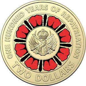 2019  $2 Two Dollar Coin Anzac 100 Years of Repatriation - 1 x Coin UNC