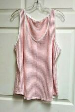 Old Navy Everywear Women's Tank Top White & Red Striped Candy Stripe Size XL