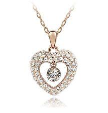 18K Gold GP SWAROVSKI Element Crystal Oversize Heart Pendant Necklace White