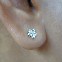 Pair 925 Sterling Silver Flower Stud Earrings Crystal Ear Studs Ladies Jewellery