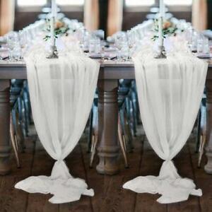 Wedding Chiffon Extra Long Romantic Sheer Table Runner Tablecloth Party Decor