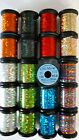 20 SPOOL of UNI-MYLAR  assorted colors & size FLY TYING HOLOGRAPHIC TINSEL