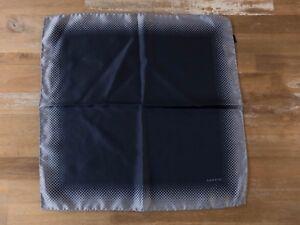 LANVIN Paris navy blue silk pocket square authentic