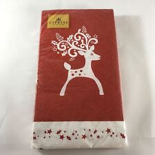 NEW Cypress Home Red White Reindeer Holiday Guest Towels Buffet Napkins 15 Count
