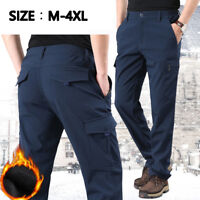 Men Winter Fleece Lining Pants Trousers Outdoor Ski Warm Size M-4XL Casual Hot