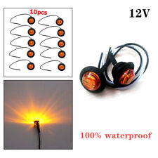10X 3/4'' Amber 3LED Lights Truck Clearance Side Marker Signal Lamp Waterproof