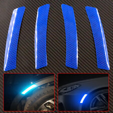 4x Super Blue Car Wheel Eyebrows Reflective Sticker Warning Sign Self-adhesive