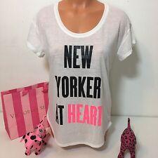 """Victorias Secret Crewneck Shirt """"NEW YORKER AT HEART"""" Size S Color White"""