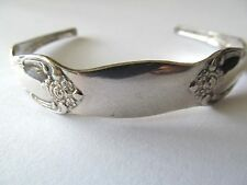 VINTAGE WM.A. ROGER ONEIDA SILVER SPOON~FORK STYLE ETCHING CUFF BANGLE BRACELET