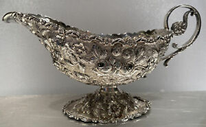 Late 19th Century A. G. Schultz Baltimore Repousse Sterling Silver Gravy Boat