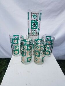 Vintage Midcentury MCM Green Gold Squares Stars Tall Tumbler Glasses