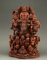 Chinese Wood Boxwood Buddhism eighteen arhat Shakyamuni Amitabha Buddha Statue
