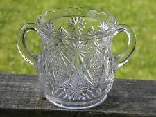 EAPG Antique Westmoreland Glass Sterling Pinwheels Two Handled Sugar Bowl c1891