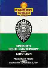 Auckland v South Canterbury 25 Sep 1991 Ranfurly Shield, NZ Rugby Programme