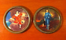 "Vintage English Royal 5.5"" Circle Brass Framed Artwork ELPCO ~ England Man Woman"