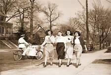VINTAGE GOOD HUMOR MAN PEDDLE BIKE CART ICE CREAM VENDOR 1950 GIRLS CANVAS ART