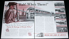1942 OLD WWII MAGAZINE PRINT AD, MOTOR BUS LINES OF AMERICA, SOLDIERS ABOARD!