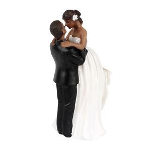 Romantic Resin Wedding Cake Topper Figure Bride and Groom Black Couple Decor