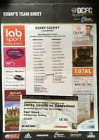 DERBY COUNTY V SUNDERLAND RESERVE LEAGUE CUP FINAL PROGRAMME WITH TICKET 1998/99