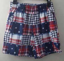 Basic Edition Boys S 6-7 Red White & Blue Elastic Waist Cargo Shorts 100% Cotton