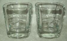 2 EMBOSSED JACK DANIELS OLD NO 7 SQUARE HEAVY BASE WHISKEY GLASSES - NEW