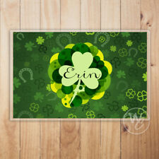 Personalized Placemat, St. Patrick's Day Laminated Mat, Shamrocks, Custom Name