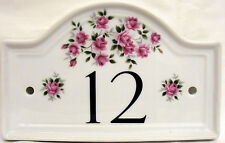 Rosalie Pink Roses House Door Number Plaque Roses Any Number Hand Decorated UK
