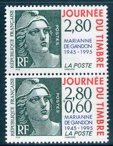 PAIRE DE TIMBRES P2934A NEUF XX - LA MARIANNE DE GANDON A 50 ANS