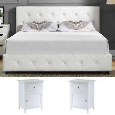 Queen Size Bedroom Set 2 Nightstands Modern Luxury Design Furniture White  Bed